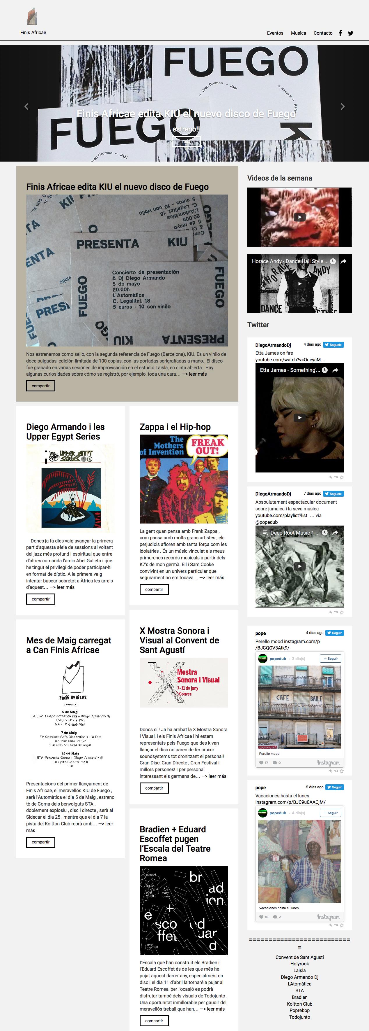 desarrollo web del colectivo Finis Africae